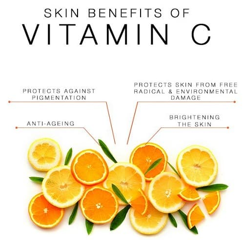 Deze foto geeft de voordelen aan van het gebruik van een vitamine c serum op u huid.