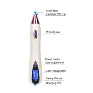 Dit is een laser plasma pen om moedervlekken, wratjes, donkere plekjes, hyperpigmentatie en andere plekjes mee te verwijderen.