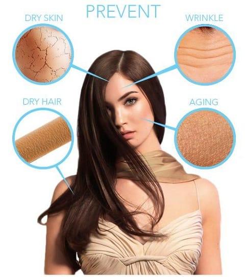 Dit is een foto van een vrouw die de voordelen van vitamine e voor de huid aangeeft en laat zien.