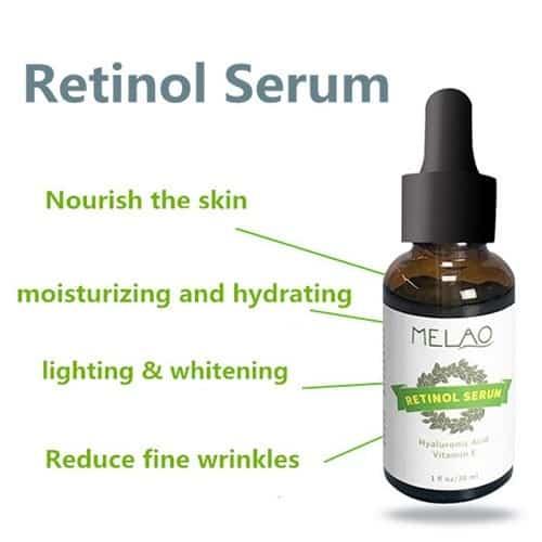 Dit is een foto van een flesje melao retinol serum 30 ml. Op de foto worden alle eigenschappen van het retinol serum benoemd.
