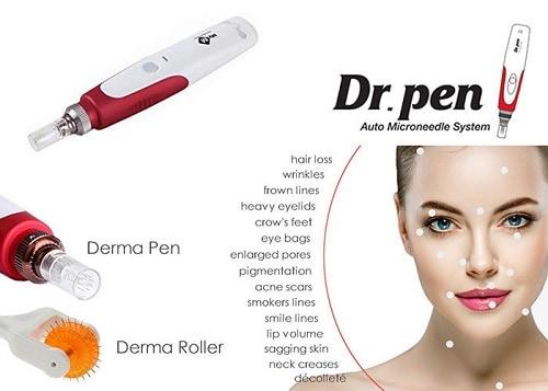 Dit is een foto waar een beauty microneedling pen wordt afgebeeld. Op deze foto wordt ook de probleemzones aangegeven die de beauty microneedling pen behandeld.