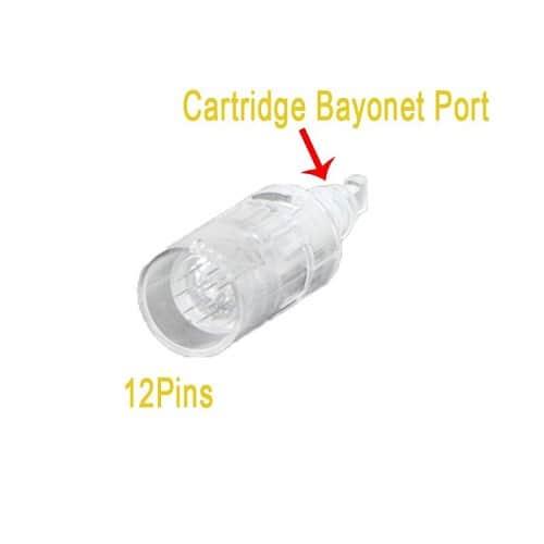 Dit is foto van een cartridge voor een derma pen ook wel beauty pen genoemd. De cartridge heeft 12 naaldjes.