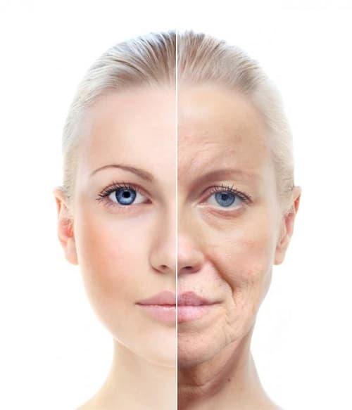 Dit is een foto van een vrouw met een jong en oud gezicht. Het is de bedoeling het verouderingsproces in beeld te brengen.