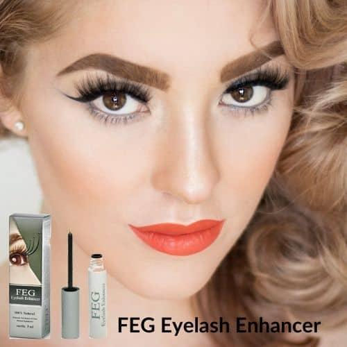 Op deze foto wordt FEG eyelash enhancer serum afgebeeld en een gezicht van een vrouw.