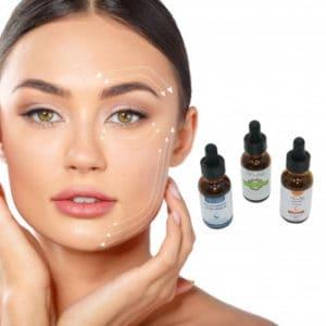 Op deze foto worden 3 verschillende serums afgebeeld. Hyaluronzuur, retinol en vitamine c serum. Daarnaast ziet u een mooi vrouwengezicht.