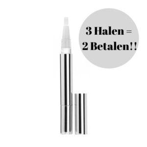 Op deze foto wordt een teeth whitening pen afgebeeld. Met deze pen maakt men tanden wit.