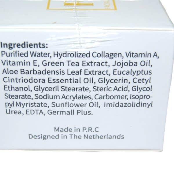 Dit is een foto van een pot collageen crème 100 ml. Collageen crème verstevigd de verslappende huid en doet ouderdomstekenen vervagen. De ingrediënten van de collageen crème zijn hier op de verpakking af te lezen.
