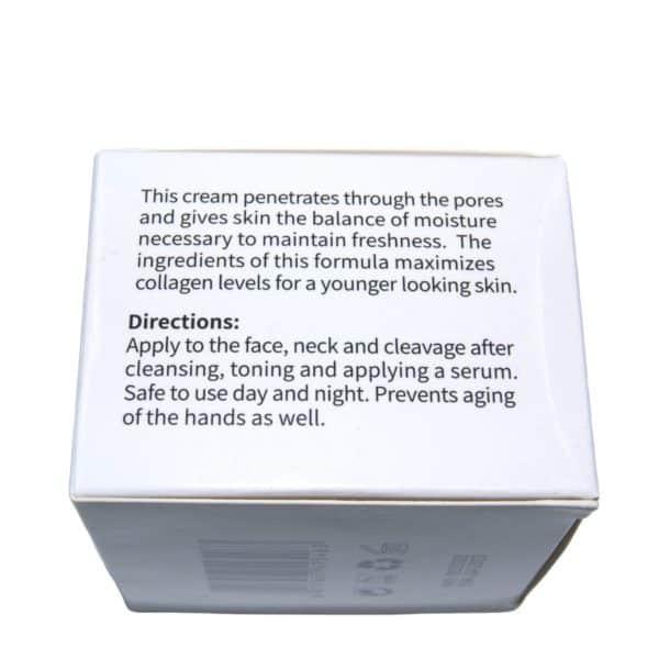 Hier wordt de verpakking van een pot collageen crème afgebeeld. Op de verpakking zijn de ingrediënten af te lezen.