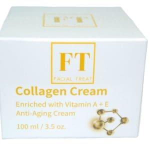 Dit is een foto waar op een pot collageen crème 100 ml wordt afgebeeld van het merk Facial Treat. Collageen crème wordt gebruikt om de huid goed te hydrateren.