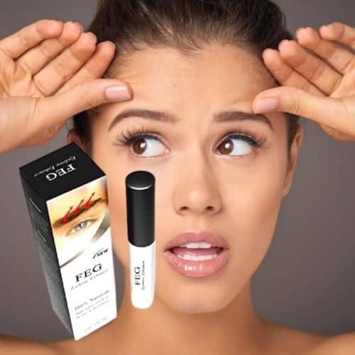 Dit is een foto waar wenkbrauwen op worden afgebeeld. De wenkbrauwen eyebrow worden behandeld met eyebrow enhancer serum van het merk FEG.