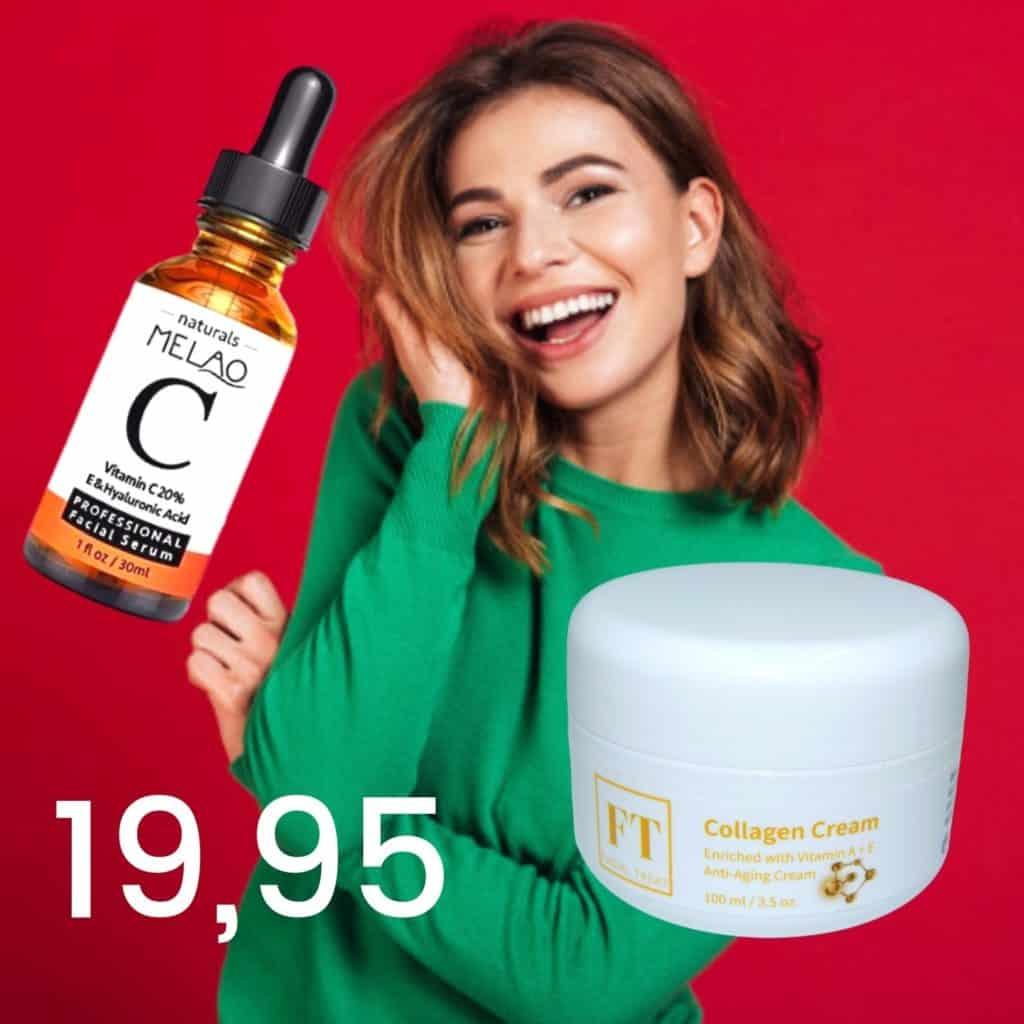 Op deze foto wordt collageen creme en vitamine c serum afgebeeld. Op de foto wordt ook een lachende vrouw afgebeeld.