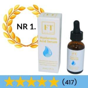 Op deze foto wordt een flesje hyaluronzuur serum 30 ml afgebeeld. Hyaluronzuur serum wordt gebruikt voor huidverjonging. De huid houdt hierdoor meer vocht vast.