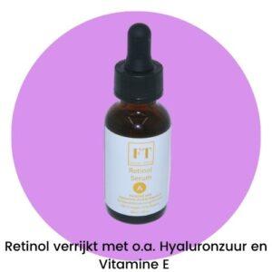 Op deze foto wordt een flesje retinol serum afgebeeld. Retinol serum heeft de eigenschappen om huidoneffenheden succesvol te behandelen