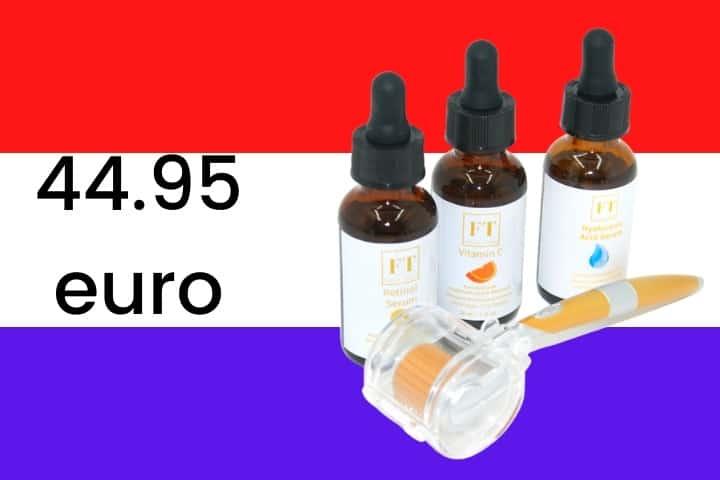 Op de foto worden 3 serum afgebeeld en 1 Dermaroller. De serums en de dermaroller worden gebruikt voor huidverzorging. De serums op de foto zijn Retinol, Vitamine C en Hyaluronzuur.