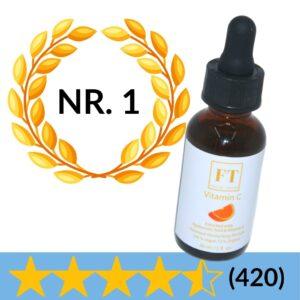Op deze foto wordt een flesje vitamine c serum 30 ml afgebeeld. Vitamine c serum wordt gebruikt om de huid te verzorgen.