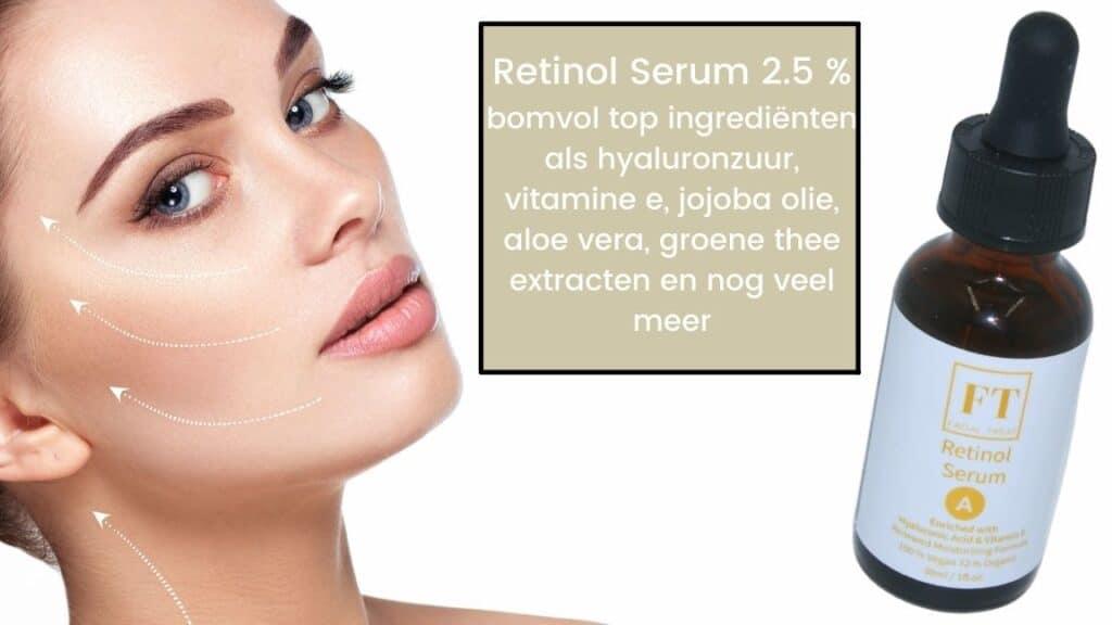 Dit is een foto van een flesje retinol serum van 30 ml. Retinol is een anti-aging serum en is goed voor de huid. De vrouw op de foto behandeld haar huid met retinol serum.